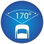 ikona znázorňujúca 170 stupňový pozorovací uhol kamery